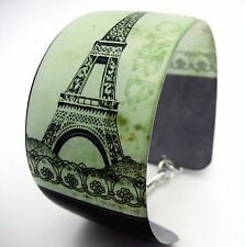 EIFFEL TOWER PARIS FRANCE vintage postcard Resin cuff bangle bracelet black gren