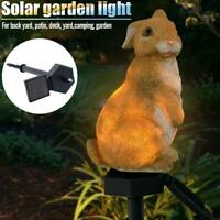 Solar Garden Ornament Rabbit Lawn Lamp Outdoor LED Sculpture Decor Light