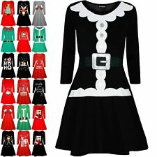 Womens Christmas Santa Claus Father Belted Suit Ladies Long Sleeve Swing Dress