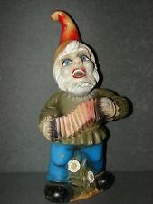 """Zeho Garden Gnome w/ Accordian 13"""" West Germany"""