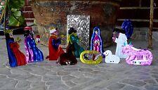 Nativity Christmas 10 piece Set With Box Tin Ornaments Mexican Folk Art