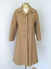 VGC Vtg 60s 70s Mod Camel Brown Heavy Wool Blend Fit Flare Coat Back Belt S