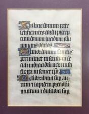 Mid 15th.C. Illuminated Manuscript. Fine Gold Initials. Framed.  Theology/Bible.