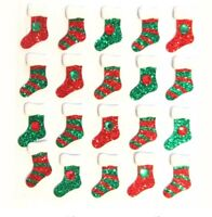 Jolee's 3D Christmas Stocking Repeats Glitter Jewels Red Green Stickers