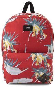 VANS Red Old Skool Arachnofloral Hawaiian Tropical Flowers Backpack NEW!