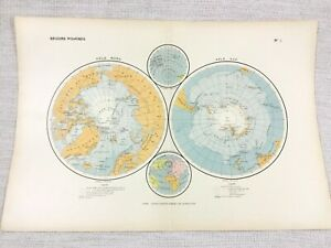 1888 Antique Map of North South Pole Polar Regions Arctic FRENCH 19th Century