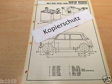 Maßplan Bodengruppe Austin Morris Mini 850/1000/1100/1275 GT - Clubman