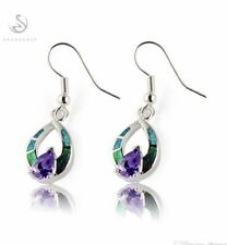 925 Sterling Silver Filled Blue + Green Opal Dangle Drop Earrings [EAR-299]