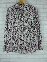 SUSSAN Shirt/Blouse Sz 12  Pink/Purple?, White, Green Print  As new condition