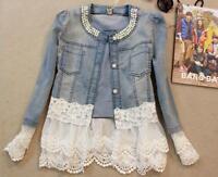 Winter Trendy Women Pearl Neck Denim Jeans Jacket Coat Lace Splicing Jacket