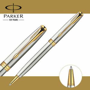 Parker Sonnet Ballpoint Pen Stainless Steel Gold Trim 0.7mm Black Refills
