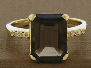 R226 Genuine 9ct, 10K, 18K Gold Natural Smokey Quartz &  Diamond Solitaire Ring