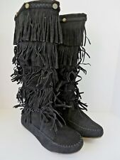 Shoes of Soul Boho Chic Womens Layer Fringe Boots L3228-2 Black Size 8 #B491