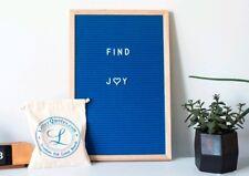 "Navy Blue Felt Changeable Letter Board - 340 White Plastic Letters - 12"" by 18"""