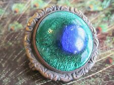 1800's FISHEL NESSLER F.N. CO. ANTIQUE PEACOCK EYE FOIL GLASS BRASS PIN BROOCH