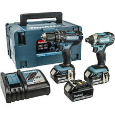 Makita 18 Volt Cordless Twin Pack 3 x 3Ah Batteries + 216 Piece Accessory Pack