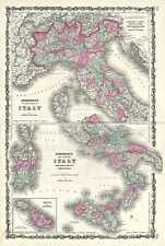 1863 Johnson Map of Italy, Sicily, and Naples before Italian Unification