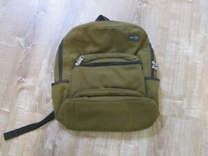 Jack Spade Backpack Olive Green Heavy Canvas Greene St Orange Nylon Lined EUC