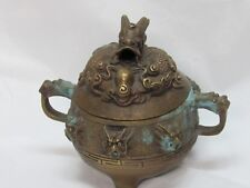 """Vintage Brass Crafted Tripod Incense Burner 6 Dragon Heads 5"""" Coned Incense"""