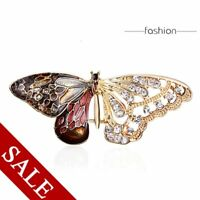 Fashion Animal Butterfly Rhinestone Crystal Brooch Pin Enamel Women Party Gift