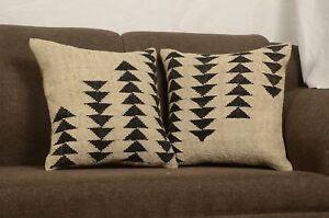 Lot Of 2 Handwoven Kilim Jute Cushion Cover 18x18 Vintage Rug Throw Pillow 8297