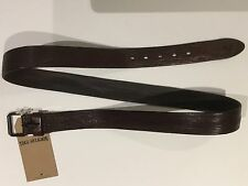 TRUE RELIGION MEN 100% LEATHER BELT PORFERATED DISTRESS BROWN NWT 40 $98 ITALY