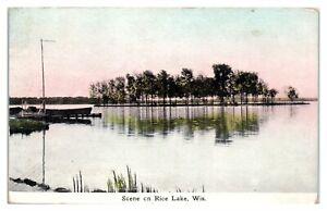 1912 Scene on Rice Lake, WI Postcard *6K