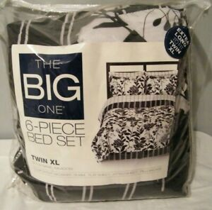 The Big One 6 Piece Bed in Bag Set Comforter Sheets Bedskirt Twin XL Black White