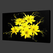YELLOW FLOWERS SPLASH QUALITY CANVAS PRINT WALL ART READY TO HANG