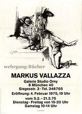 Ausstellungsplakat, Markus Vallazza, Galerie Studio Orny, München, 1975