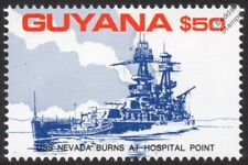 USS NEVADA (BB-36) at Hospital Point WWII Pearl Harbor Warship Stamp