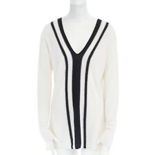 VINCE cashmere cream black striped V-neck varsity sweater top S