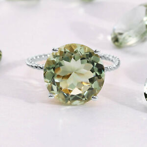 5Ct. Green Amethyst Sterling Silver Ring, Twist Rope Design