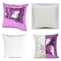 10Pcs Purple 3D Sublimation Blank Reversible Mermaid Pillowcase Sequin Glitter