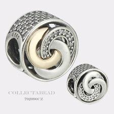 Authentic Pandora Silver & 14K Interlinked Circles CZ Bead 792090CZ *SPRING 2017