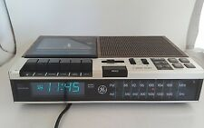 GE Vintage FM/AM Clock Radio Cassette Tape Recorder Player Blue LED 7-4956B Work