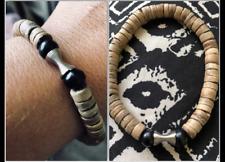 Black Tourmaline Coco Wood Spiritual Triangle Reflect Glyph Dagaz Bracelet 7.5