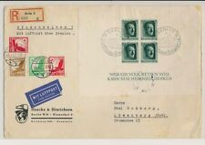 XC39873 Germany 1937 Reich registered air mail fine cover used