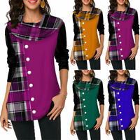 Women's Long Sleeve Blouse Plaid Casual Tunic Top T-Shirt Plus Size Button Decor