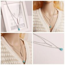 Fashion 2 Layer Turquoise Water Drop Strip Tassel Charm Necklaces Bid Jewelry