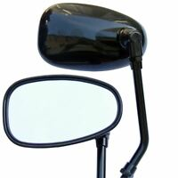 BLACK  MOTORCYCLE OVAL REAR VIEW MIRRORS FOR HONDA SUZUKI YAMAHA KAWASAKI 10mm