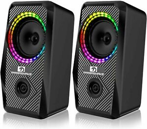 PC Computer Laptop Speakers USB 2.0 Stereo LED 5W High Quality Clear Sound UK HQ