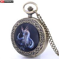Vintage Bronze Dragon Pocket Watch Quartz Antique Necklace Pendant Chain Retro