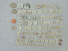 Assorted Shell Mother of Pearl White/Ivory/Tan (96) Vintage Buttons (#3834)