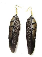 Brown Black Gold Pheasant Feather Earrings Drop Dangle Hook Vintage Long 6AJ