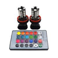 2x H11 H9 H8 5050 LED 27SMD RGB Car Headlight Fog Lamp Bulb Light Remote Control