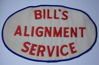 "9"" Old Vintage 1960s BILL'S ALIGNMENT SERVICE ADVERTISING UNIFORM JACKET PATCH"