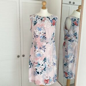 Phase Eight Pink Shift Dress Size 18 Floral Sleeveless Formal Wedding Occasion