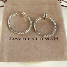 David Yurman $325 Sterling Silver Cablespira Hoop Earrings 30mm NEW / Authentic