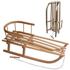 BAMBINIWELT Kinderschlitten Holzschlitten Rodel 90cm mit Zugseil Rückenlehne